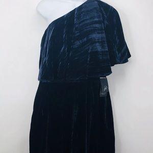 Adrianna Papell Draped One Shoulder Velvet Gown